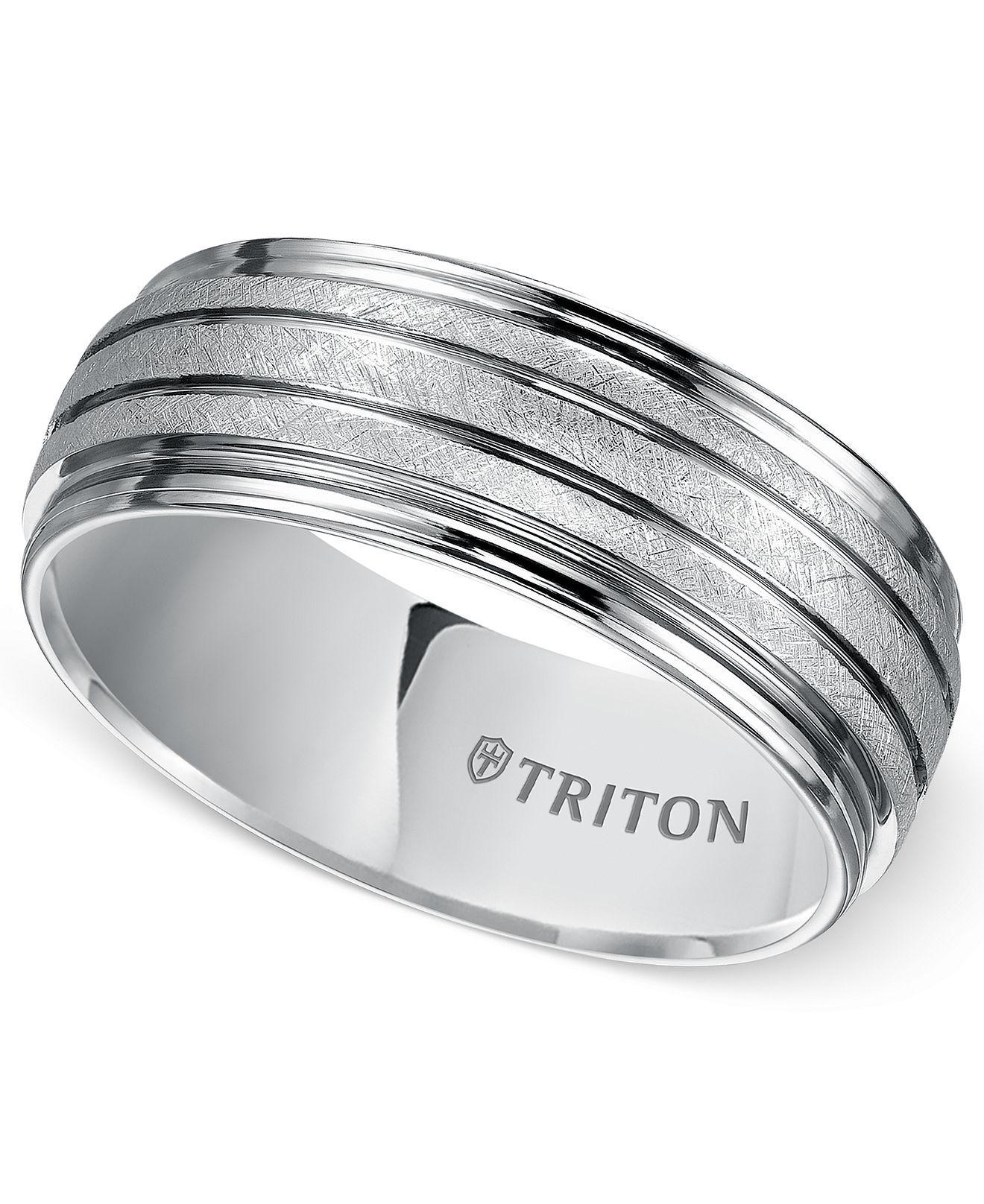 Triton Men's White Tungsten Carbide Ring, 8mm Comfort Fit