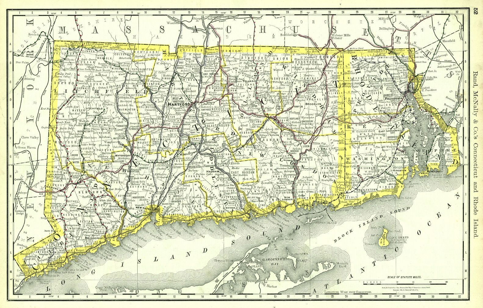Map Antique Rand McNally Cos Connecticut And Rhode Island - Chicago map border