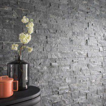 Plaquette de parement pierre naturelle gris elegance for Mur interieur en pierre leroy merlin