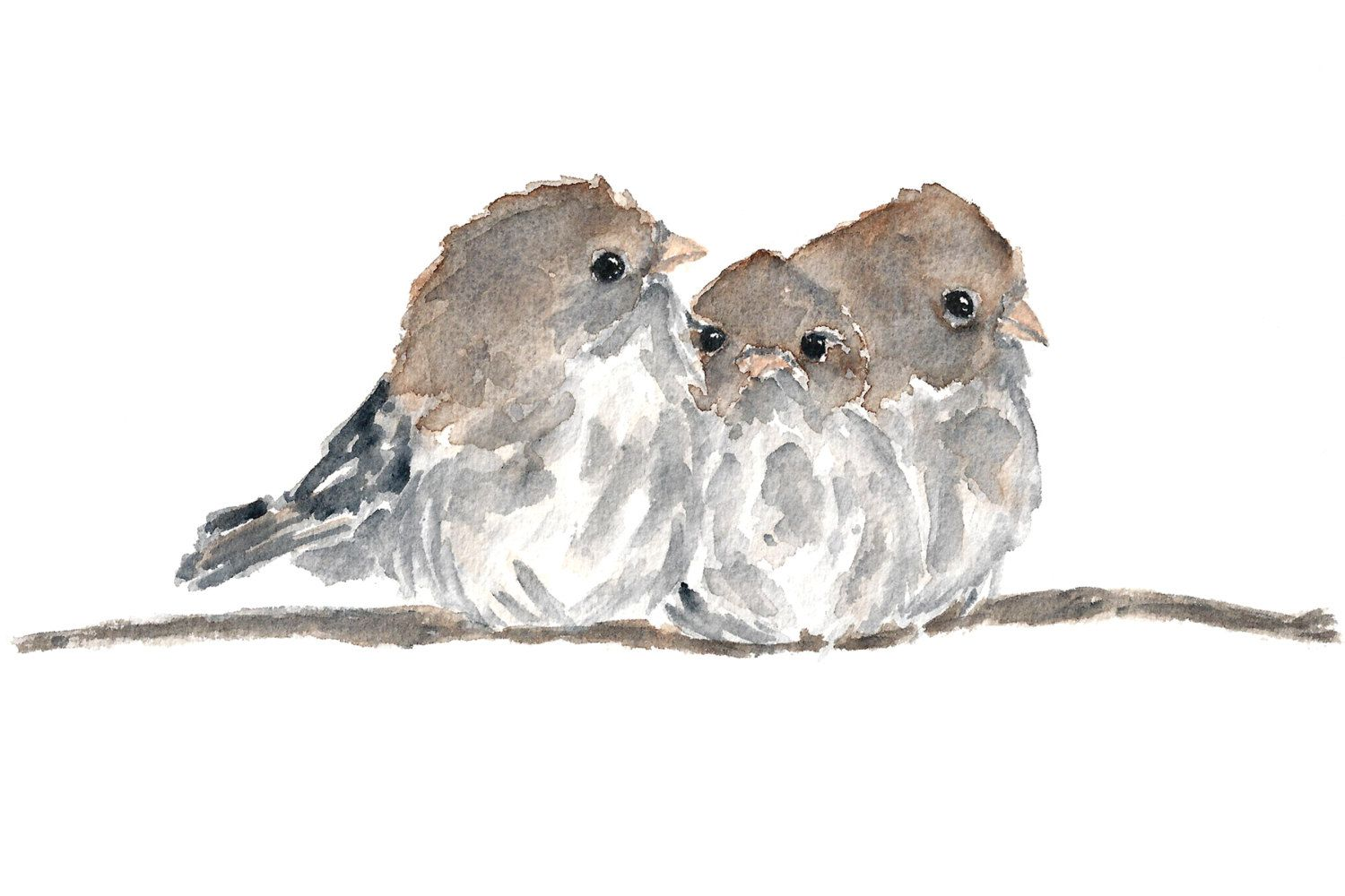 Bird Print Watercolor Bird Art Baby Bird Nursery Por