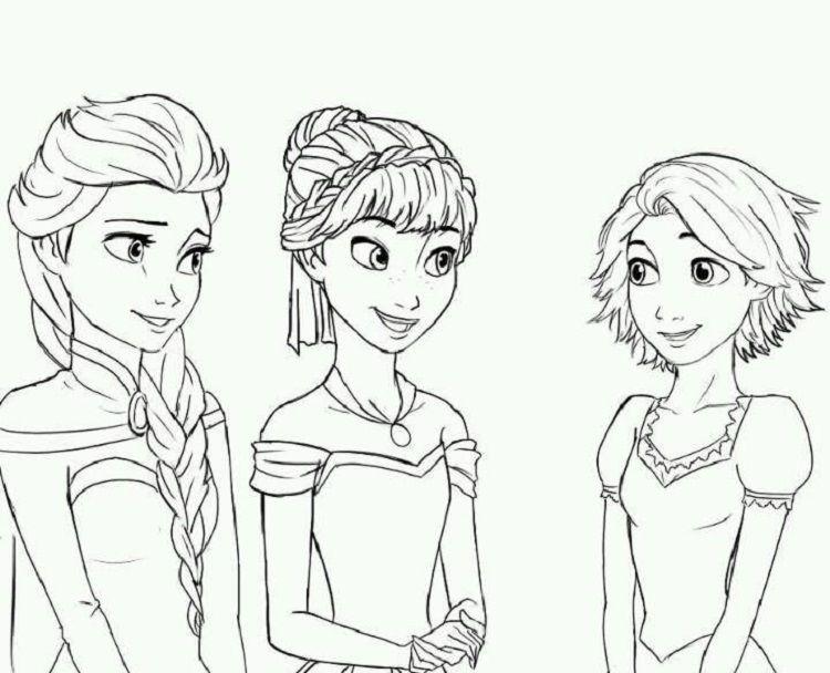 Rapunzel In Frozen Coloring Pages Di 2020