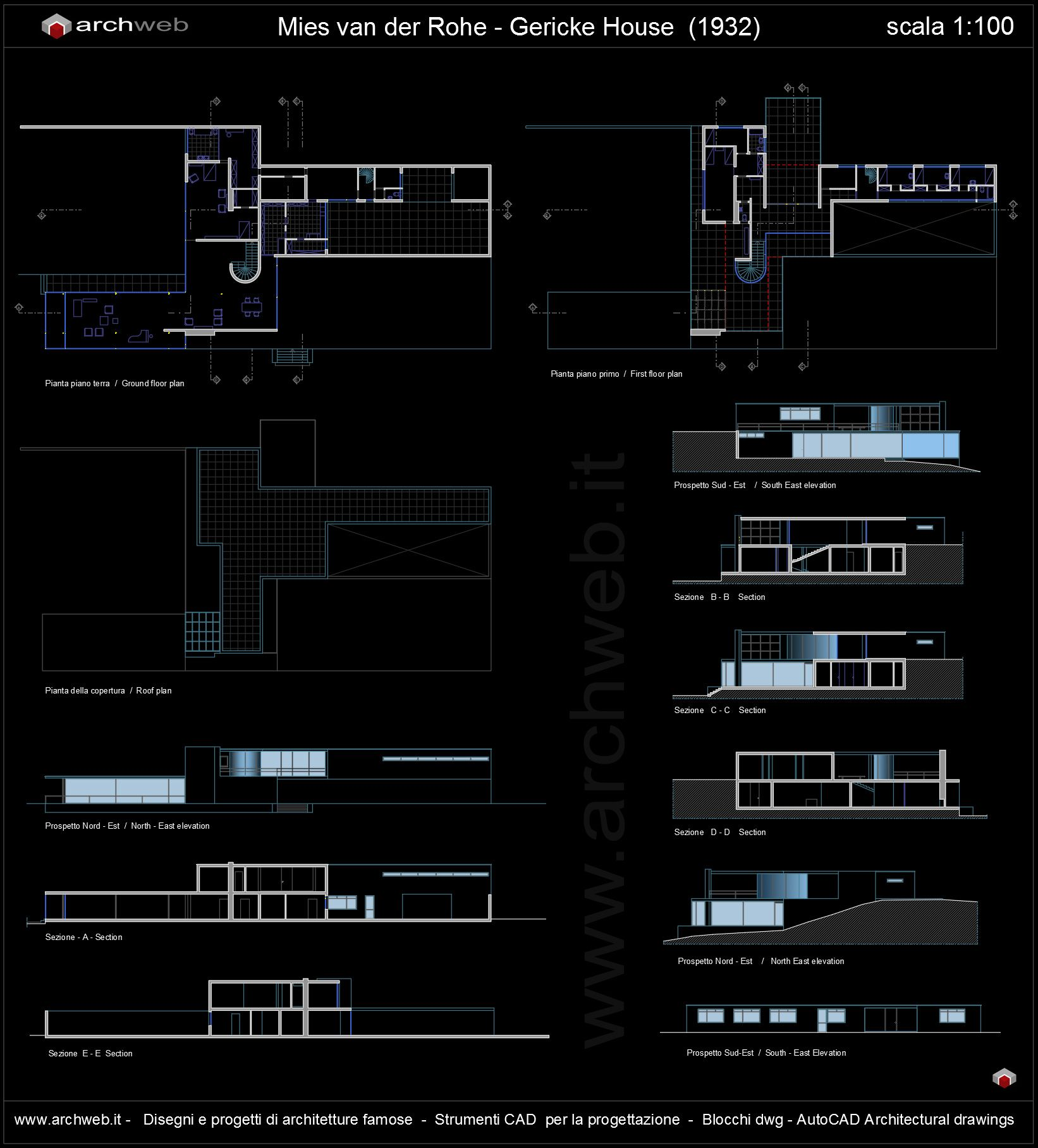 Gericke House Autocad Dwg Iconic Houses Pinterest # Muebles Mies Van Der Rohe Autocad