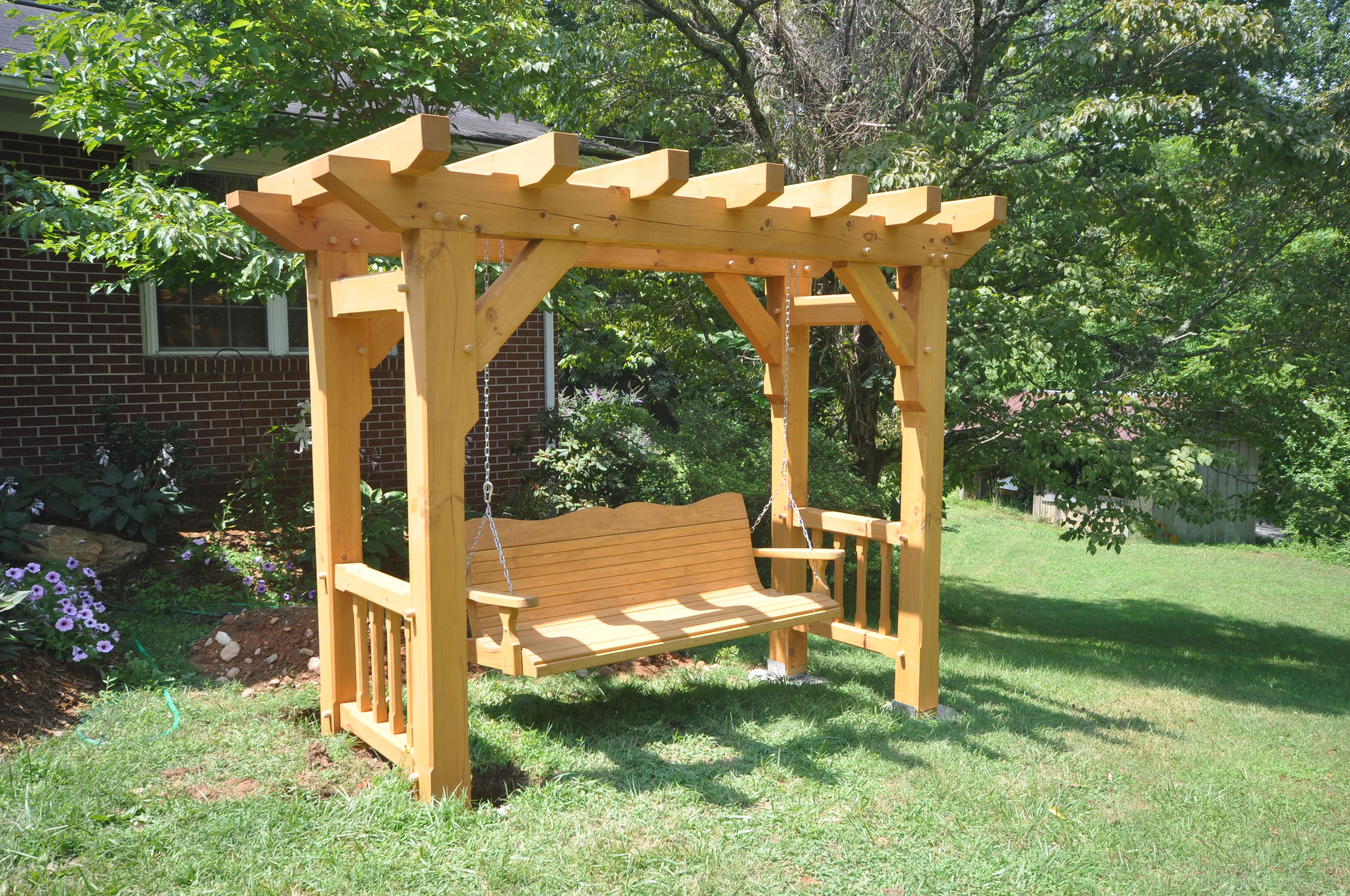 Timber Frame Swing With Gun Stock Posts. Frames