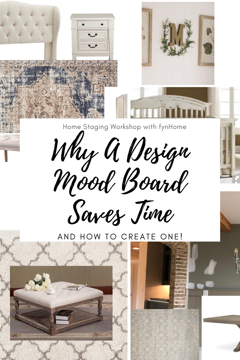 "Did you know a Design Mood Board can save you both time and money when decorating a room? You can quickly ""see"" what works and doesn't and weed out the ones that don't go together. Check out this blog post to see how and the after photos of the rooms! #design #moodboard #howtostage #homestagingworkshop #staging #learntostage #learntostagehouses"