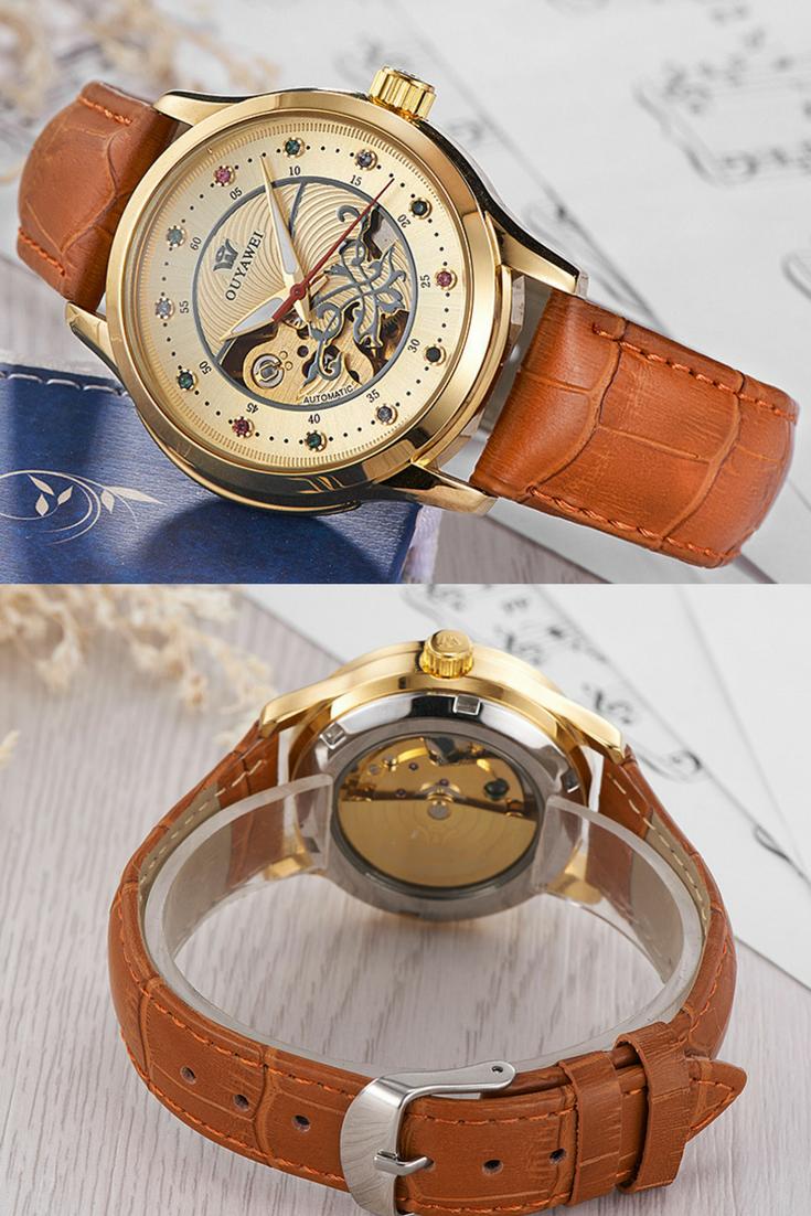 Luxury gold automatic skeleton wrist watch women clock ouyawei