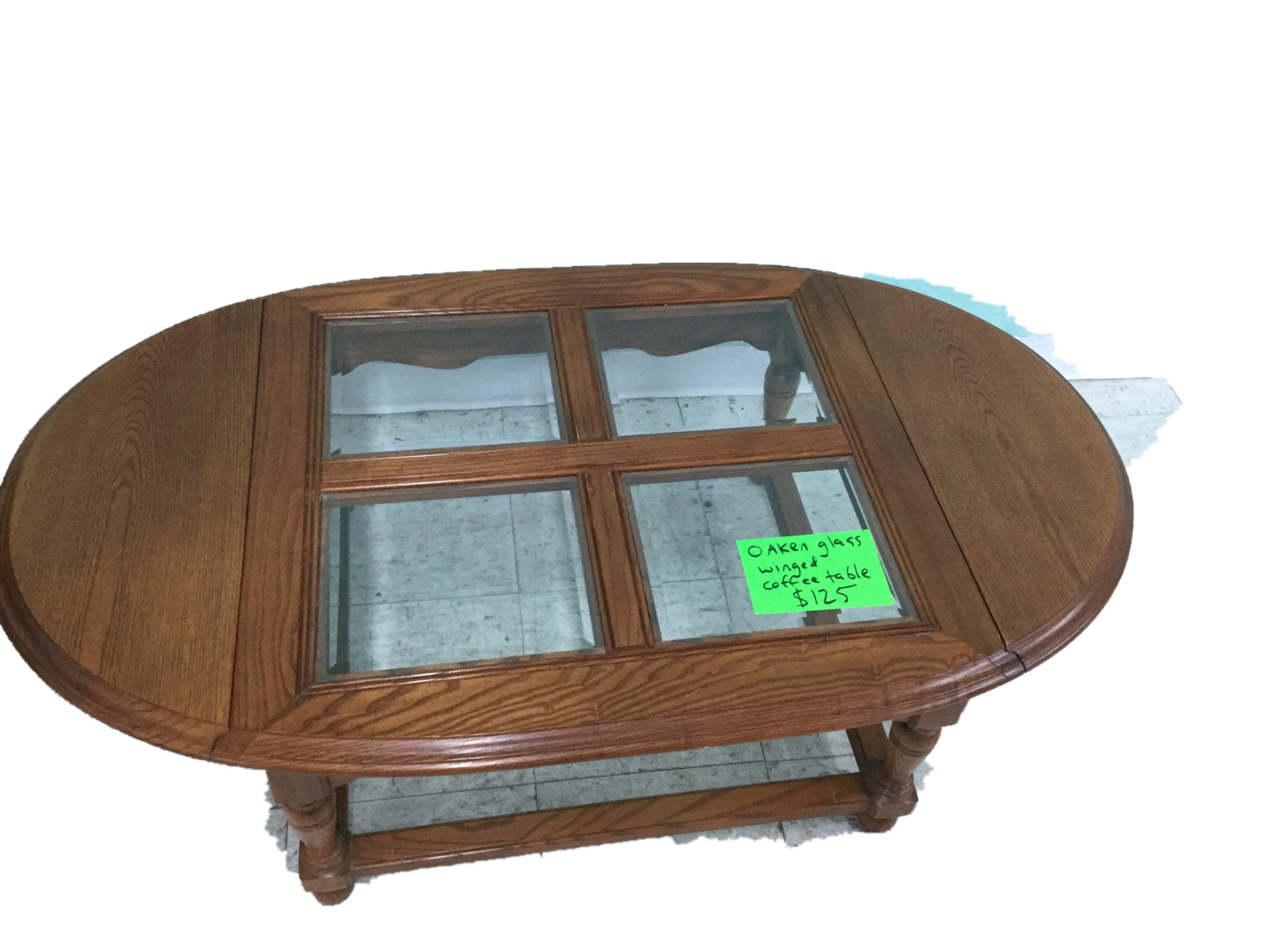 Oaken glass 4-panel coffee table with fold down wings