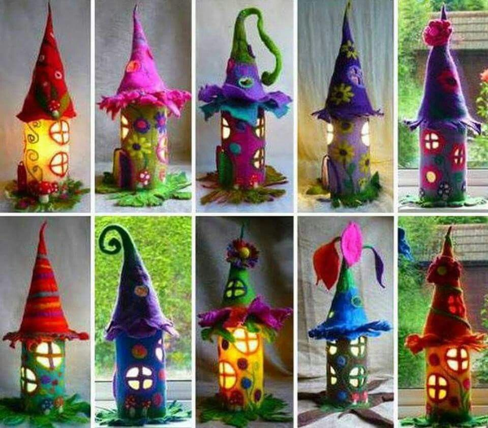 Diy Toilet Paper Rolls Into Fairy Houses Fairy Crafts Paper