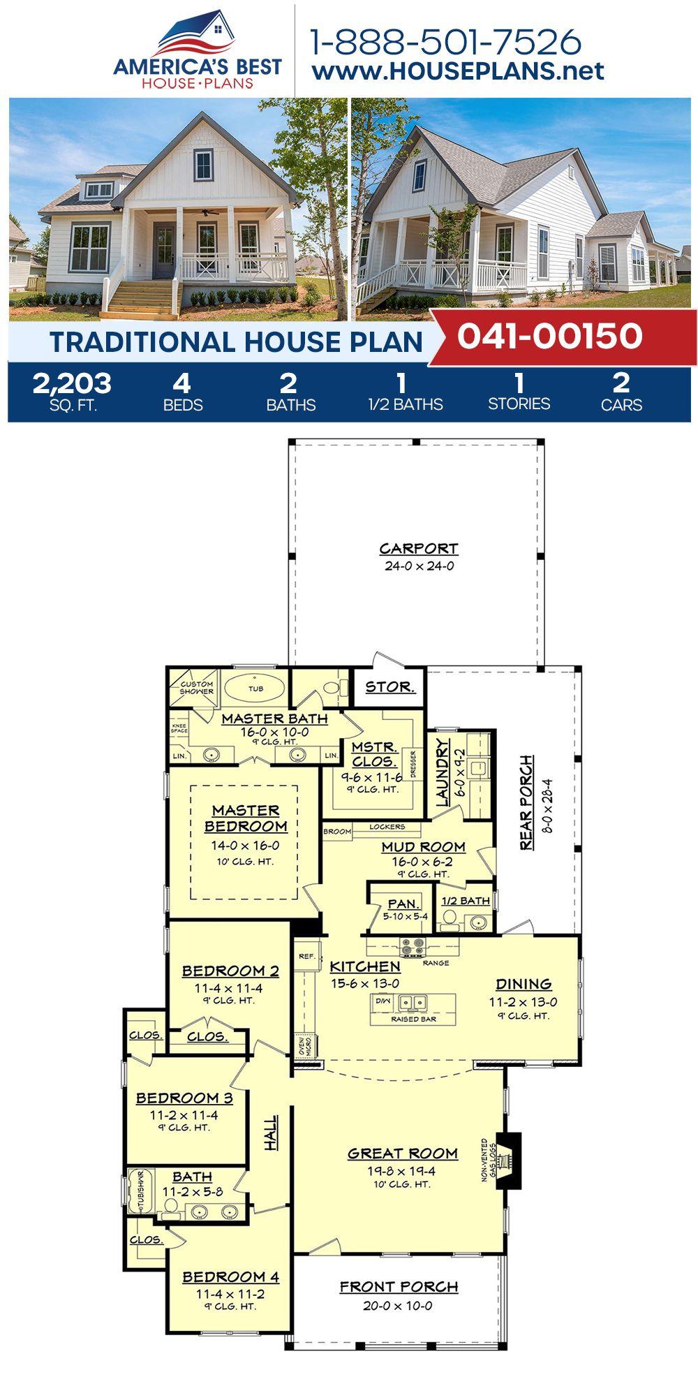 House Plan 041 00150 Traditional Plan 2 203 Square Feet 4 Bedrooms 2 5 Bathrooms In 2020 House Plans Dream House Plans Traditional House Plan