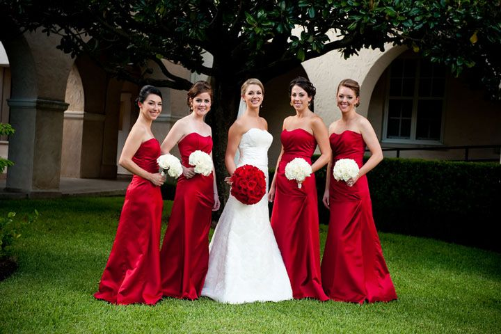 11 Bridesmaids Red White Wedding Significant Events Of Texas Event Coordination And Design