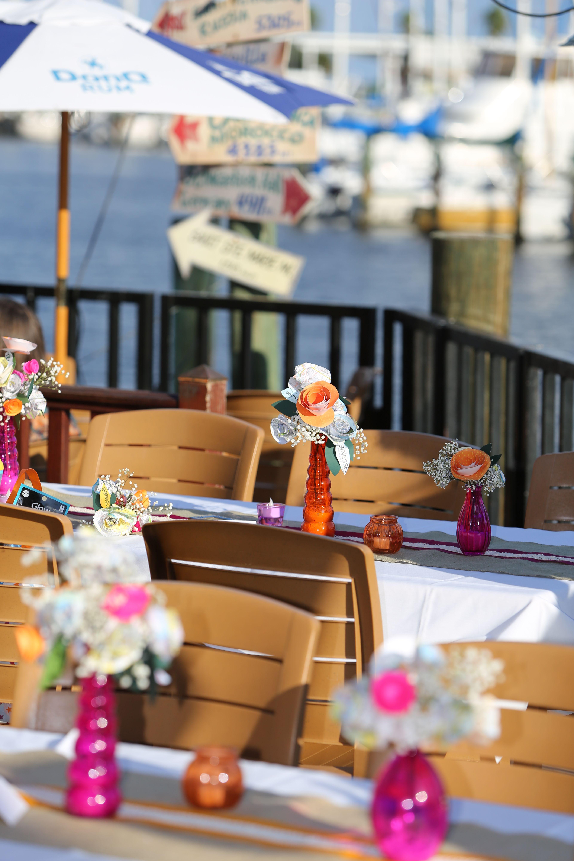 Orange, Pink, Burlap, Flowers Outdoor dining, Waterfront