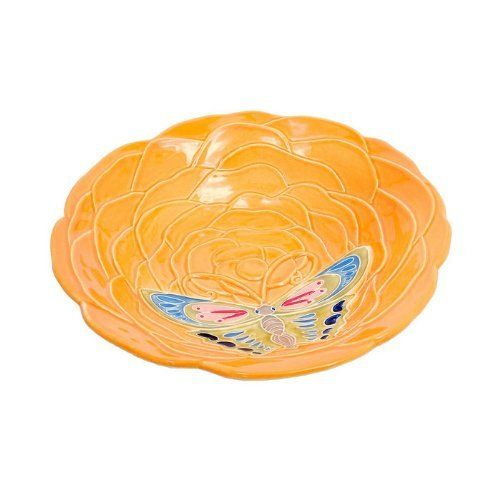 Achla Designs Tangerine Bowl by Achla. $30.01. 12-inch dia by 2-1/2-inch d. Ceramic bowl only with flat bottom. Tangerine finish. Exotic tangerine blossom birdbath embellished with a strikingly vibrant butterfly. This version is the bowl only.. Save 25% Off!