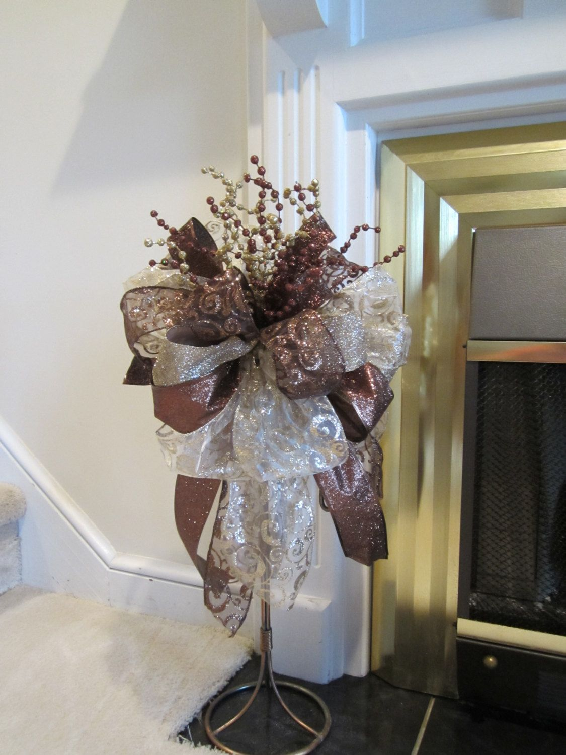 Christmas tree topper ribbon bow sale only 1 elegant for Elegant christmas decorations for sale