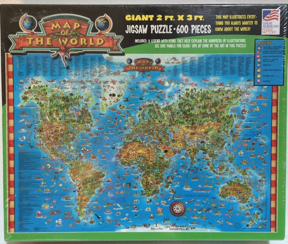 Giant illustrated map of the world jigsaw puzzle 600 pieces 2 ft x 3 giant illustrated map of the world jigsaw puzzle 600 pieces 2 ft x 3 ft sealed greatamericanpuzzlefactory educationalpuzzle gumiabroncs Image collections