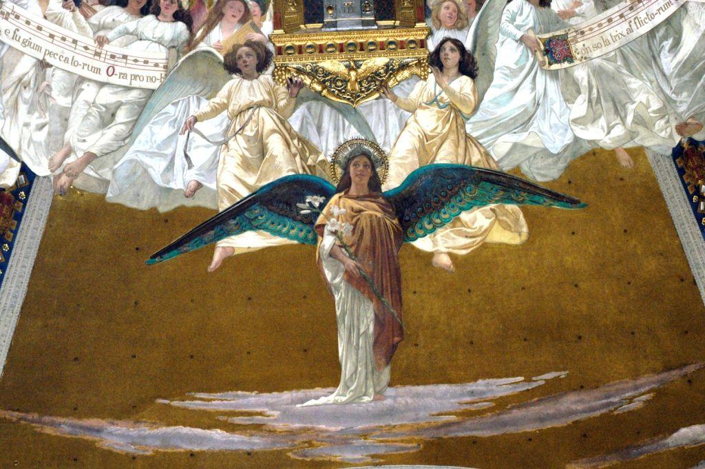 #SanGabrieleArcangelo (1890-1895). #Affresco di #CesareMaccari situato nella #Cupola del #SantuariodiLoreto.   ❤  #SaintGabrielArchangel  #Dome of the #SanctuaryofLoreto, #fresco by #CesareMaccari. #Archangel #messengerofGod #SaintsArchangels #Archangels #chatholicchurch #chiesacattolicaromana #Loreto #SantiArcangeli #messaggeridiDio #ArcangeloGabriele #Arcangeli #Angeli #Marchespiritualroute #Vialauretana #camminilauretani #Loretoturismo