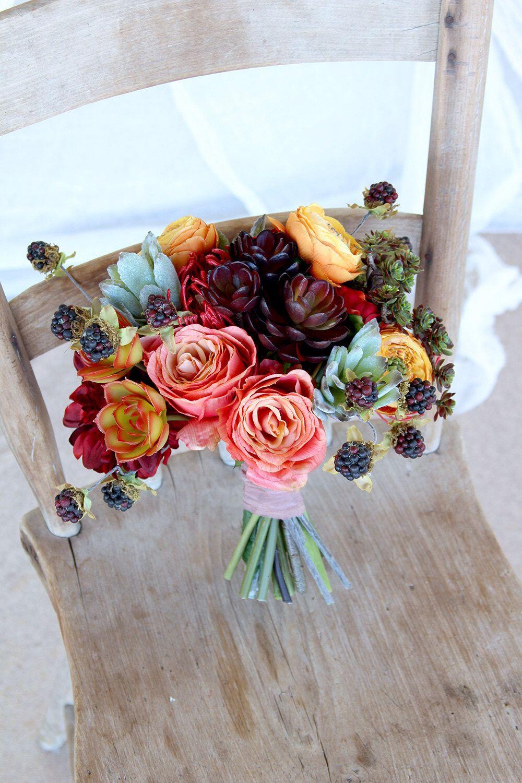Desert Succulent Bouquet | Coral Burgundy Marsala and Mint Green ...