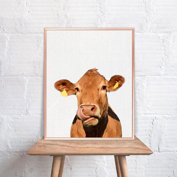 Cow Wall Art / Farm Cow Home Decor / Cow Print / Cow Art /