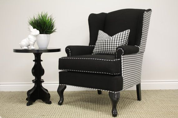 Switch Studio www.switchstudio.ca Houndstooth Wingback Chair, reupholstered, for sale black and white $800 each