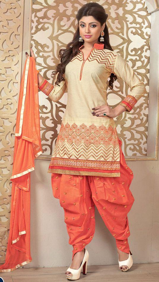 USD 37.55 Beige Cambric Cotton Punjabi Suit 47276