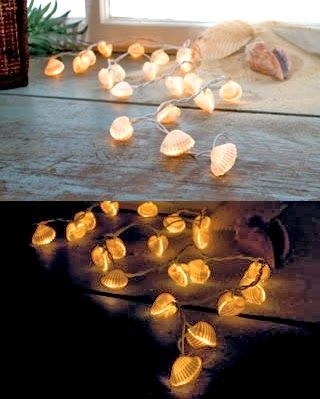 novelty coastal christmas lights lighthouses seashells