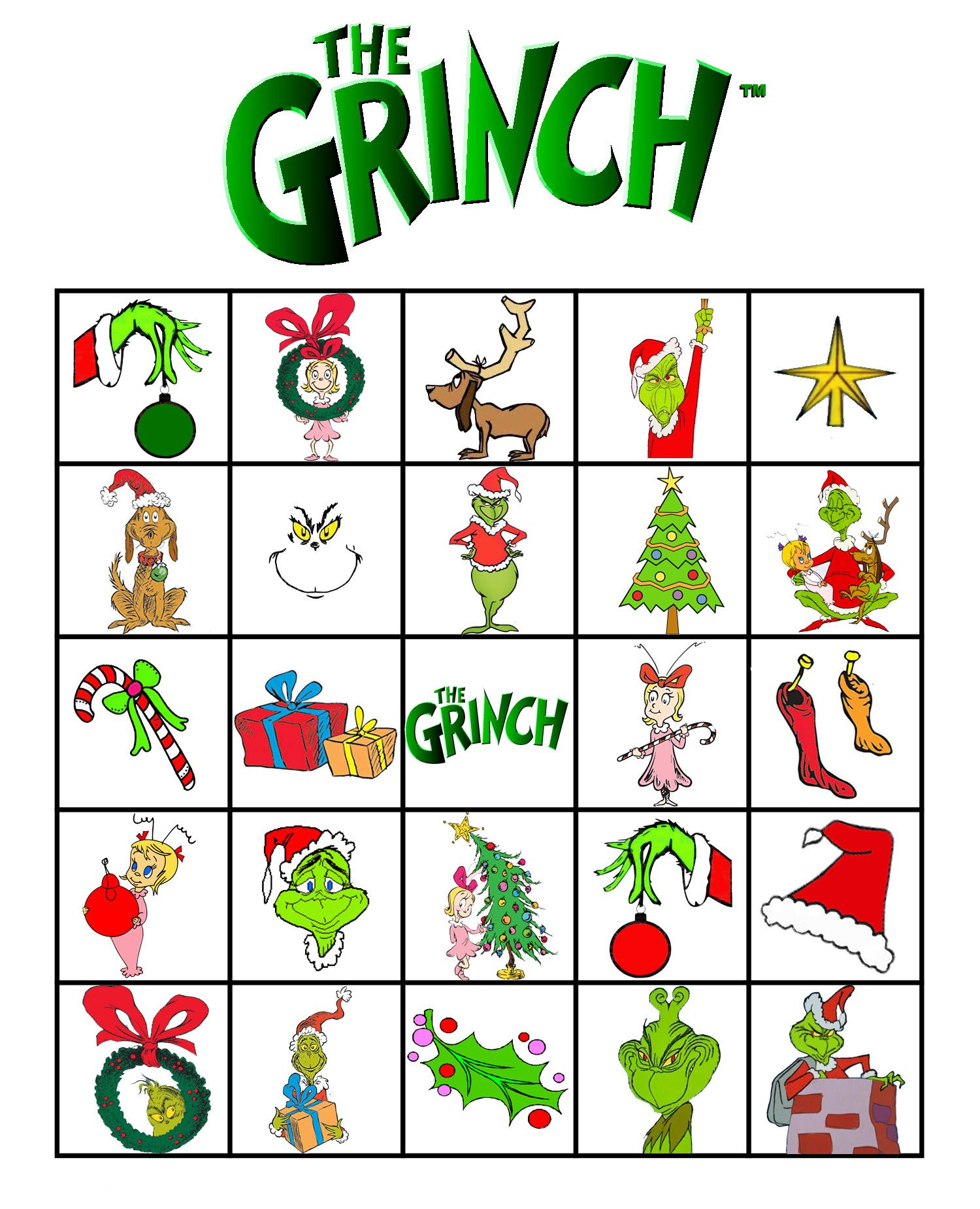 Free Printable Grinch Bingo With Images
