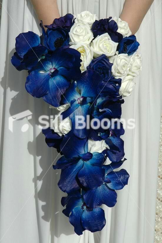 Cascading Artificial Bridal Wedding Bouquet w/ Ivory Roses & Blue ...