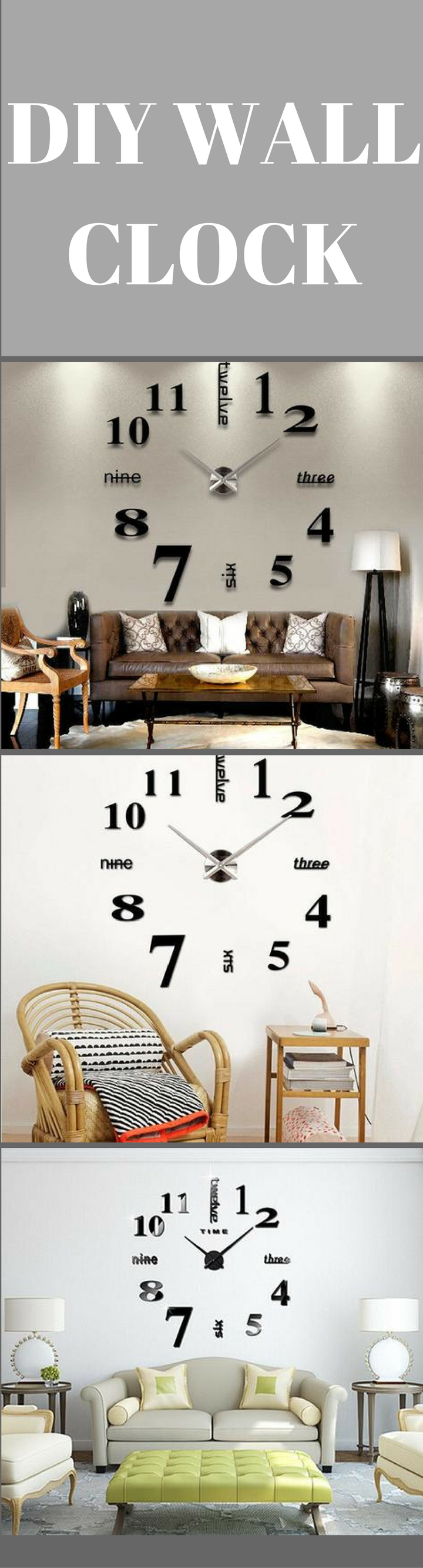 Buy 3D DIY Large Wall Clock-Black at marketplacefinds for only ...