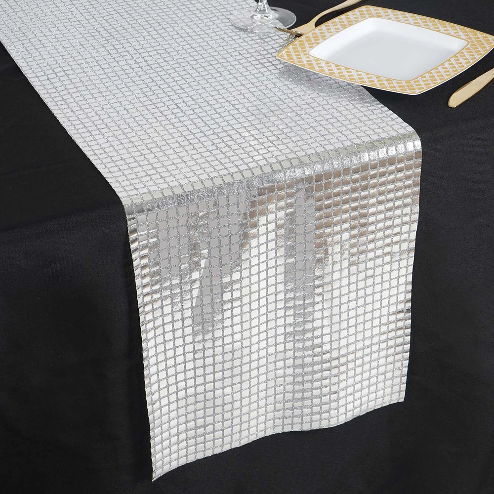 Silver Dashing Mirror Foil Table Runner In 2020 Tulle Table Runner Funky Mirrors Table Runners