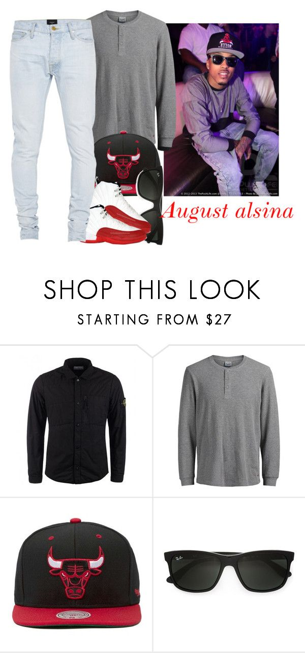 """""""Looking like august 😘😘"""" by jchristina ❤ liked on Polyvore featuring STONE ISLAND, Jack & Jones, Mitchell & Ness, Ray-Ban, Fear of God, men's fashion and menswear"""