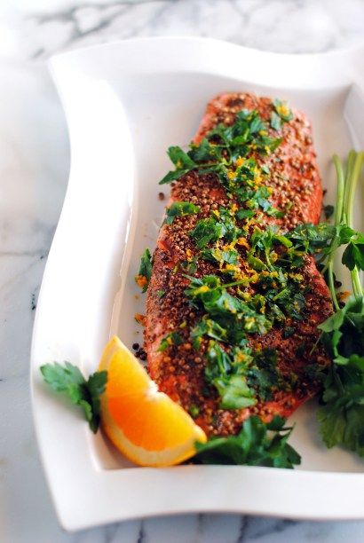 Pepper and Coriander Coated Salmon Fillets | The Cake Chica