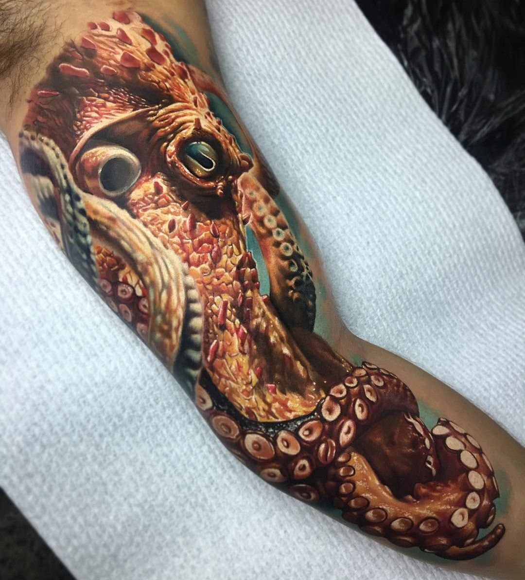 Octopus realism mens inner bicep tattoo tattoo designs and
