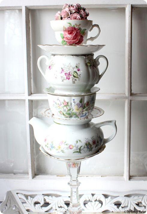 anthropologie knock off diy stacked teacups and saucers for the
