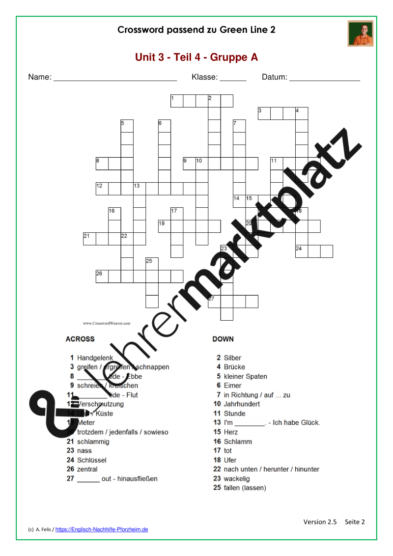 Diese zwei Kreuzworträtsel passend zum Wortschatz aus GreenLine2 ...