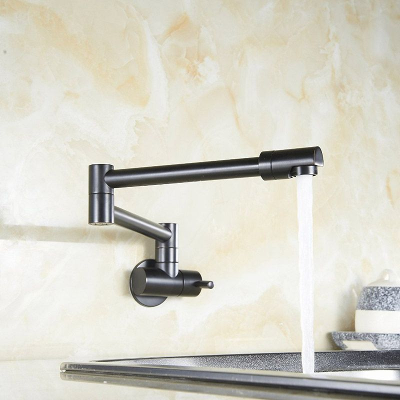 Modern Single Lever Wall-Mount Retractable Pot Filler Faucet Cold ...