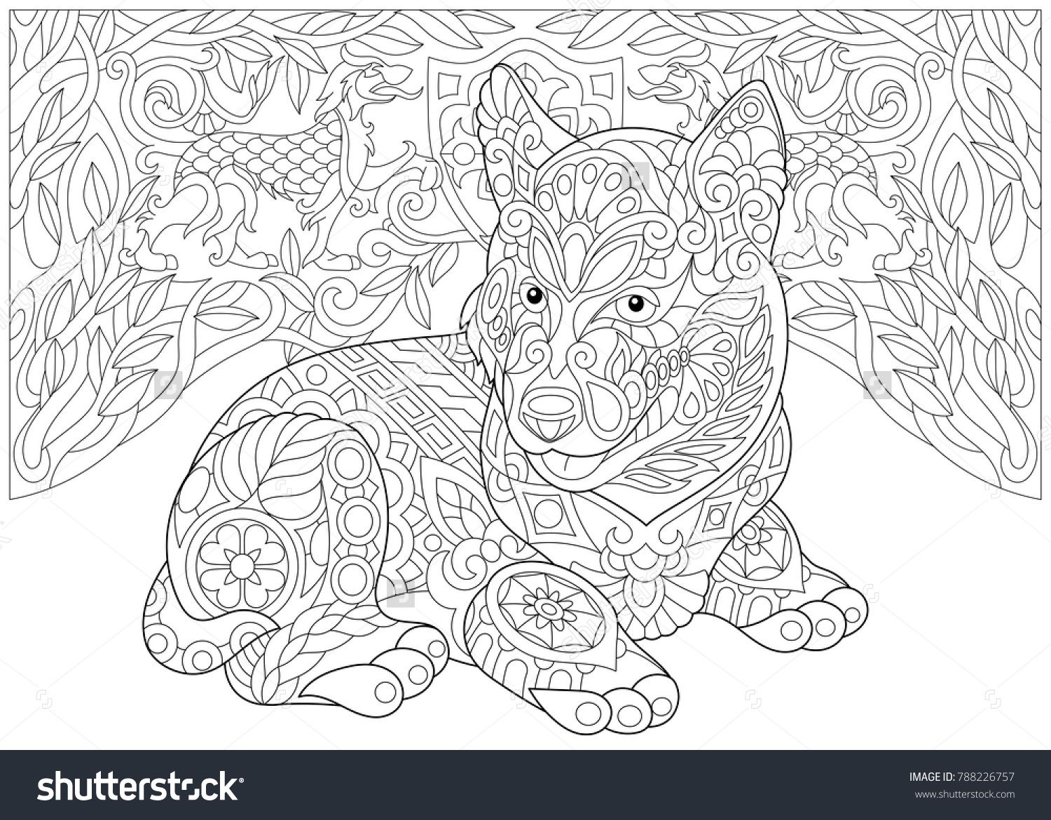 Coloring Page Adult Coloring Book Siberian Husky Puppy Alaskan