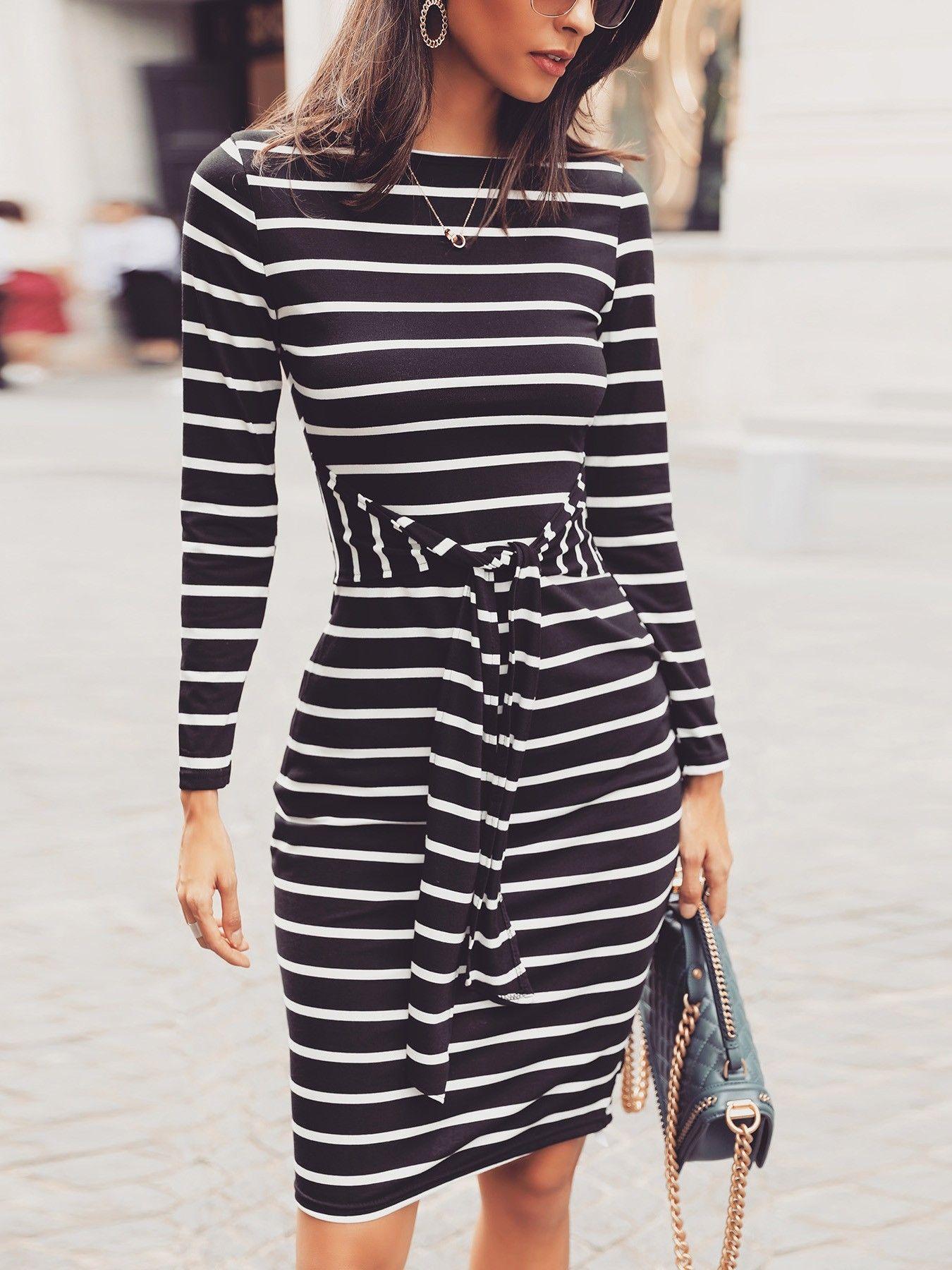 Striped Long Sleeve Tied Waist Casual Dress Casual Dresses For Women Casual Dresses Mini Dress Casual [ 1800 x 1350 Pixel ]