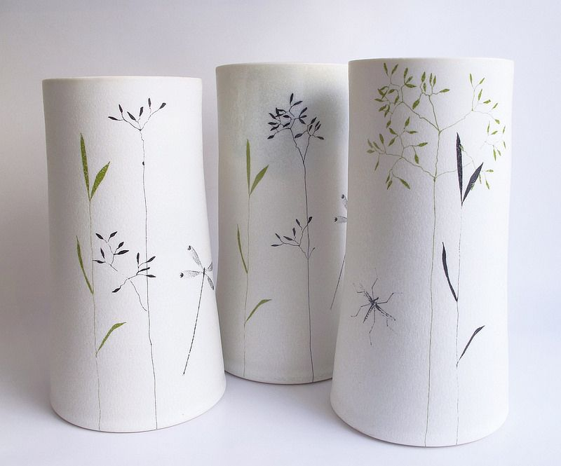 Porcelain vase with grass and dragonfly -by Karin Eriksson