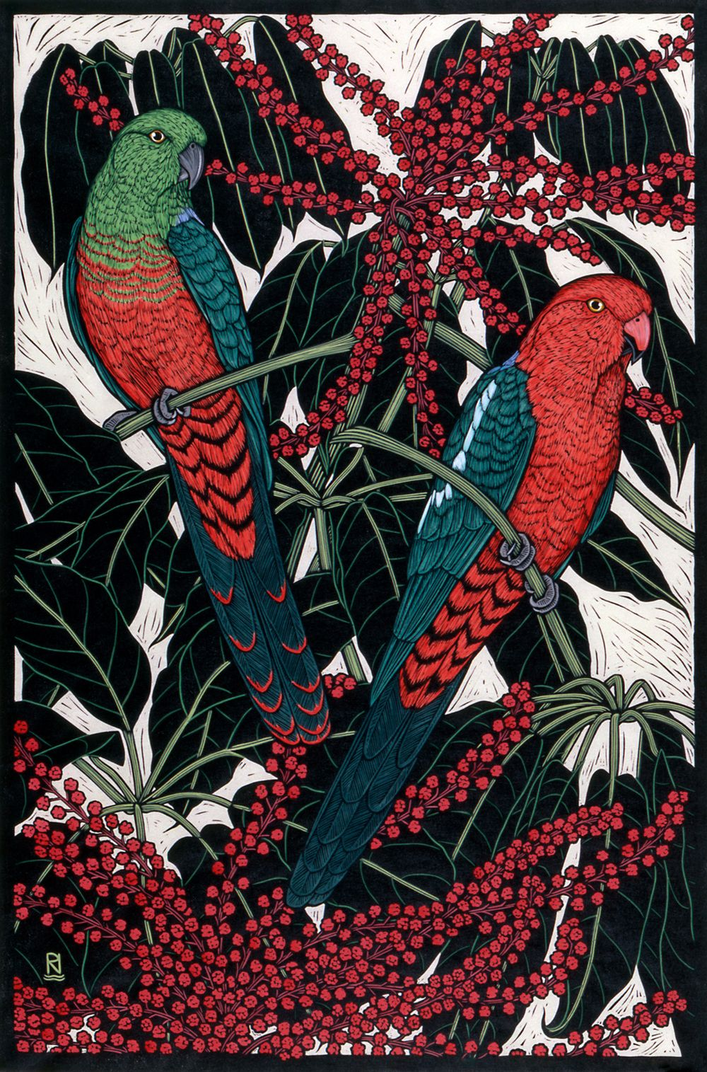 'King Parrot' hand coloured linocut on handmade Japanese