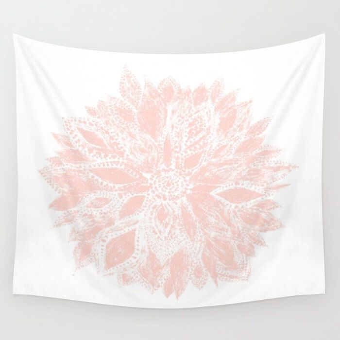 Pink and White Tapestry Victorian Girly Print Wall Hanging Decor