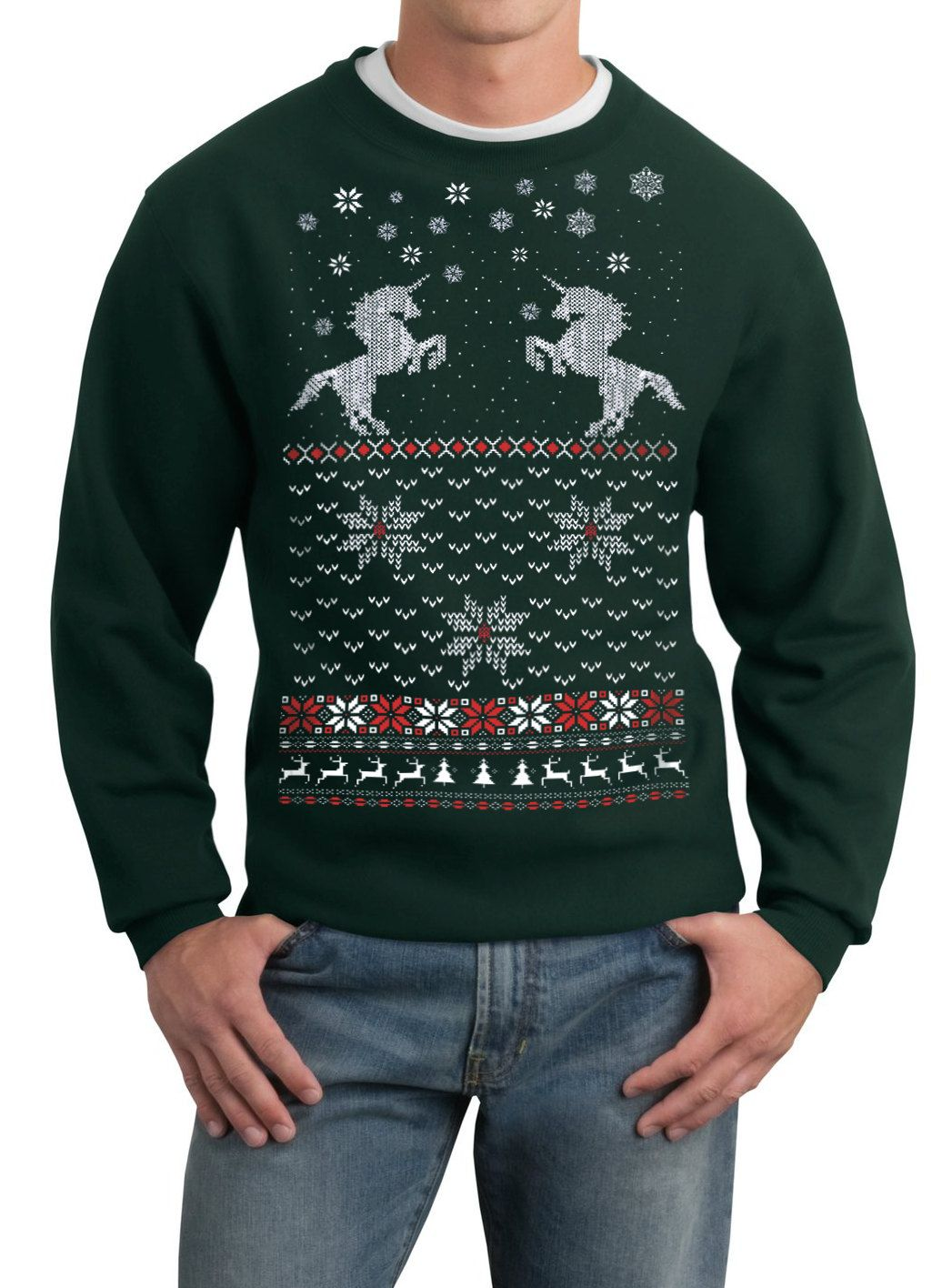 Kersttrui Man Xxl.Mens Ugly Christmas Sweater Christmas Unicorn Pullover