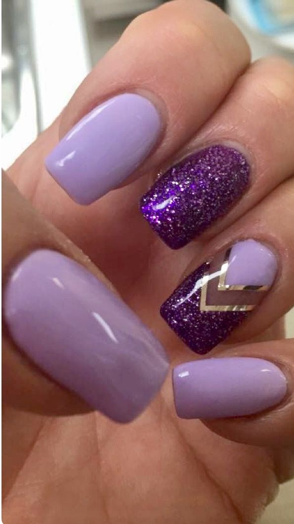 Nails Lt. & Dark Purple W/Glitter | Summer nail art | Pinterest ...