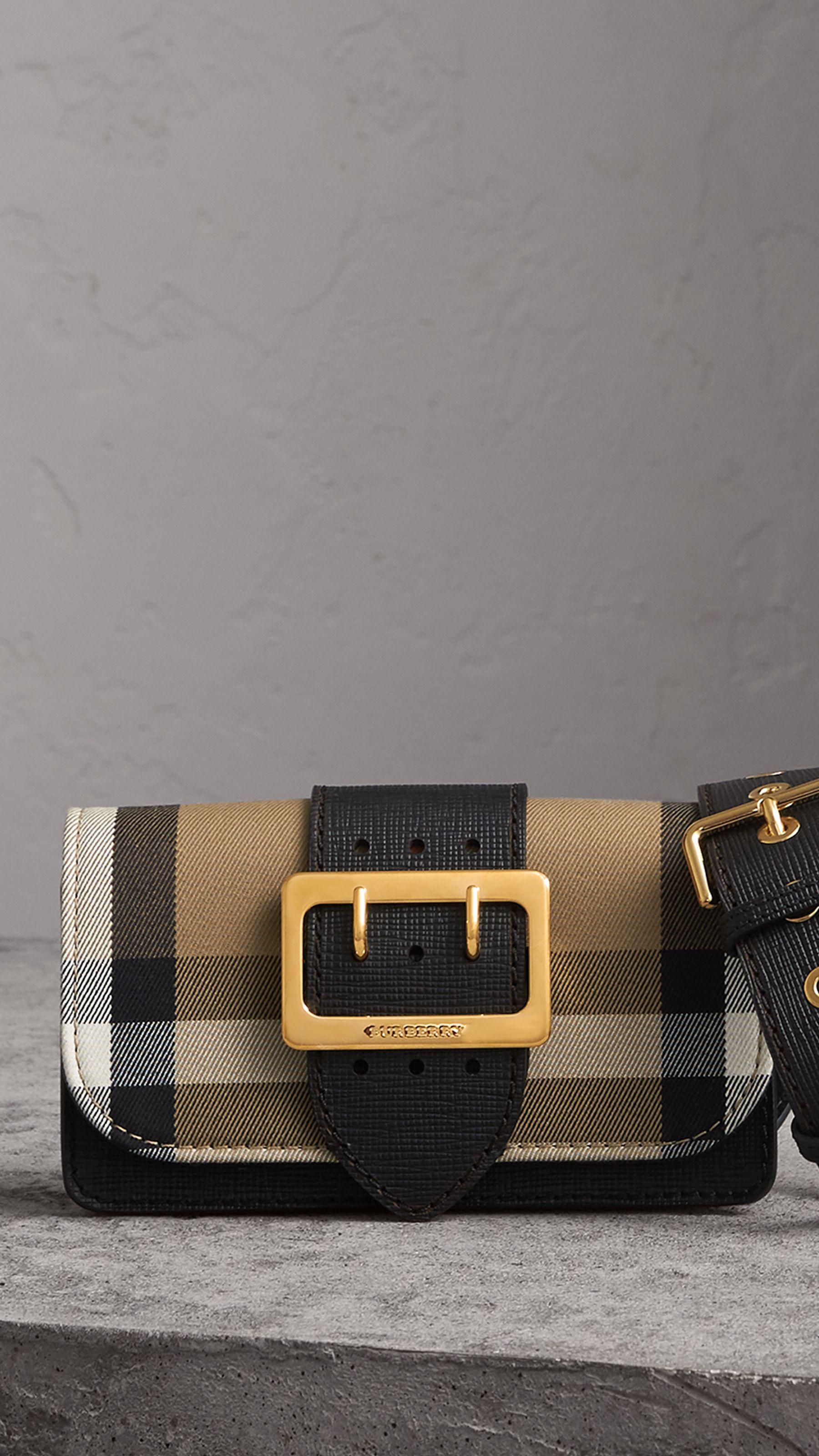 d8fd30c9e23 The Small Buckle Bag in House Check and Leather in Black - Women   Burberry