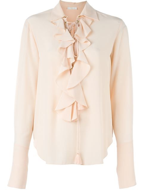 Shop Chloé lace-up ruffle shirt in Diva from the world's best independent boutiques at farfetch.com. Shop 400 boutiques at one address.