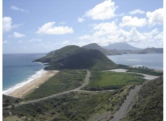 St. Kitts; Atlantic on one side Carribean on the other.