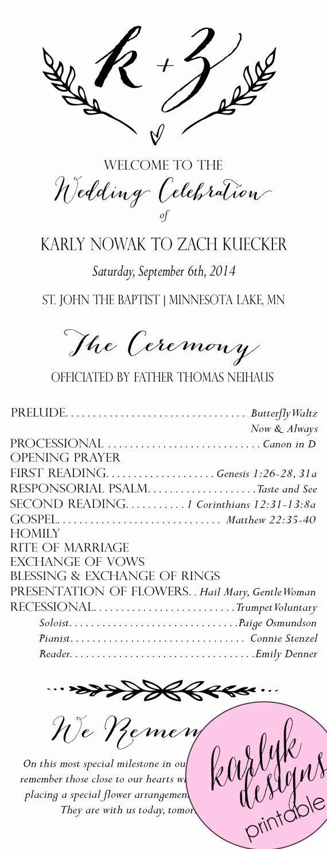 , Catholic Wedding Program Template without Mass Unique