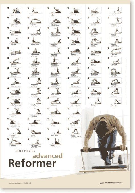 Intermediate Reformer Stott Pilates Wall Chart Ausdauertraining Crosstrainer