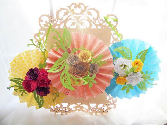 BRICOLAJE de roseta de medallones con flores de papel flor de