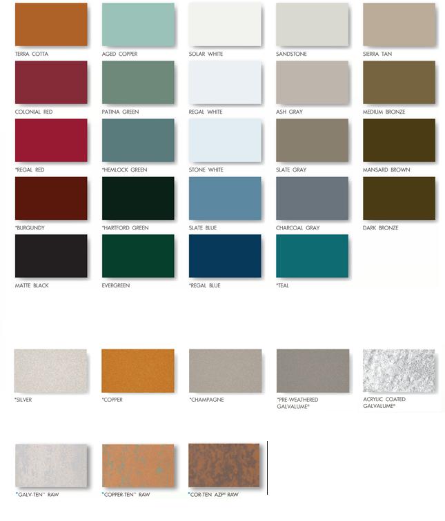 Color Chart Metal Roof Standing Seam Metal Buildings