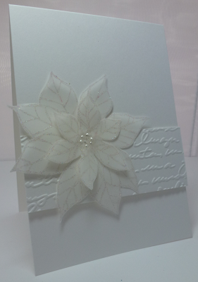 Creatin' and Stampin': White on white card . . . Let's be creative and say it's a Christmas card...Oh, no, it's a wedding card...uhhh, maybe it's a birthday card :-)