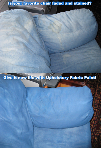 Simply Spray upholstery fabric paint. One can evenly covers about 17 square feet.