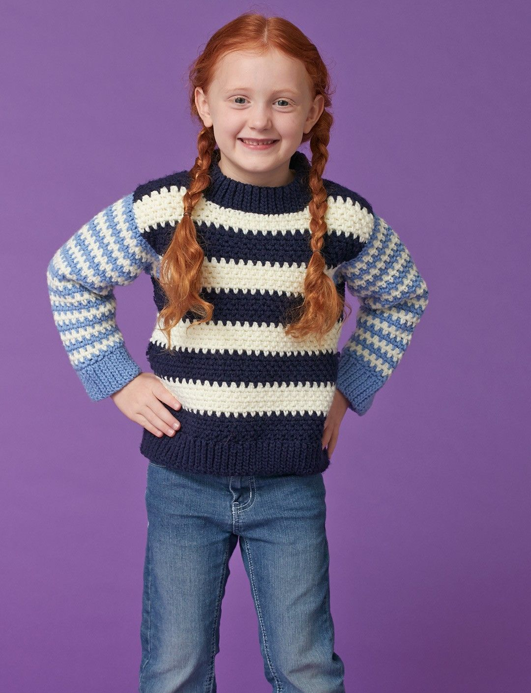 Yarnspirations.com - Caron Duo Stripes Kids Pullover - Patterns ...